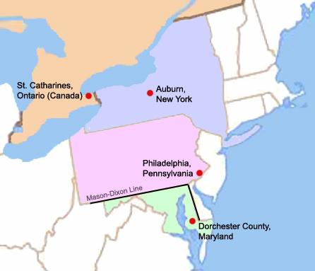 Location of Harriet Tubman