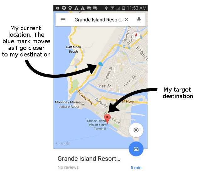 I use Google map to guide me when I travel